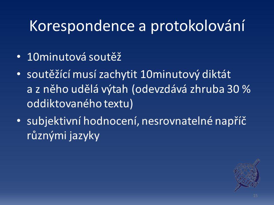 Korespondence a protokolování 10minutová soutěž soutěžící musí zachytit 10minutový diktát a z něho udělá výtah (odevzdává zhruba 30 % oddiktovaného textu) subjektivní hodnocení, nesrovnatelné napříč různými jazyky 15