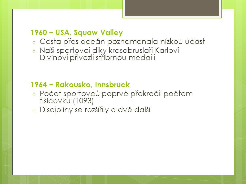 1960 – USA, Squaw Valley o Cesta přes oceán poznamenala nízkou účast o Naši sportovci díky krasobruslaři Karlovi Divínovi přivezli stříbrnou medaili 1