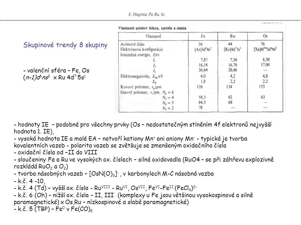 8. Skupina: Fe Ru, 0s - valenční sféra – Fe, Os (n-1)d 6 ns 2 x Ru 4d 7 5s 1 Skupinové trendy 8 skupiny - hodnoty IE – podobné pro všechny prvky (Os –