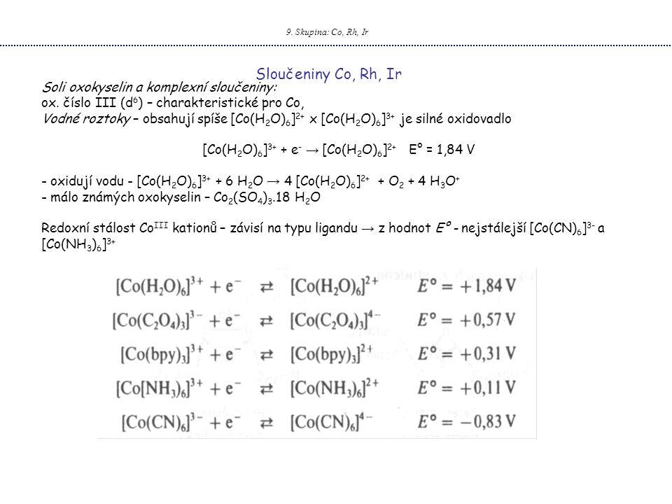 9.Skupina: Co, Rh, Ir Sloučeniny Co, Rh, Ir Soli oxokyselin a komplexní sloučeniny: ox.