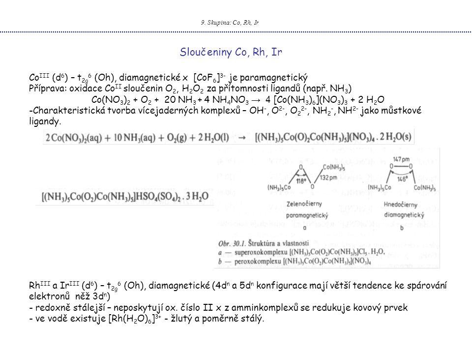 9. Skupina: Co, Rh, Ir Sloučeniny Co, Rh, Ir Co III (d 6 ) – t 2g 6 (Oh), diamagnetické x [CoF 6 ] 3- je paramagnetický Příprava: oxidace Co II slouče