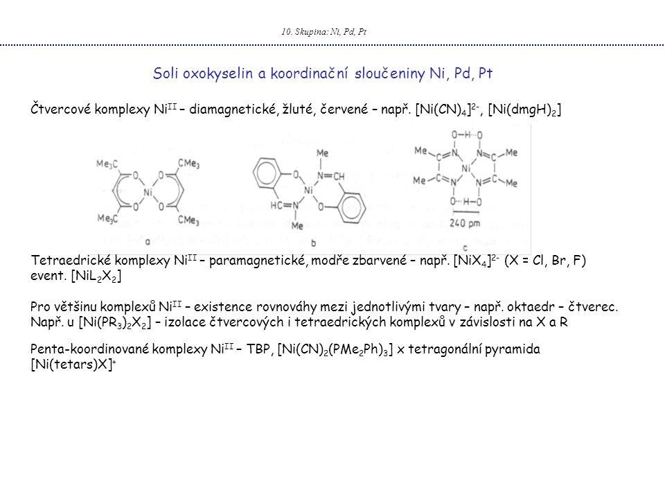 10. Skupina: Ni, Pd, Pt Soli oxokyselin a koordinační sloučeniny Ni, Pd, Pt Čtvercové komplexy Ni II – diamagnetické, žluté, červené – např. [Ni(CN) 4