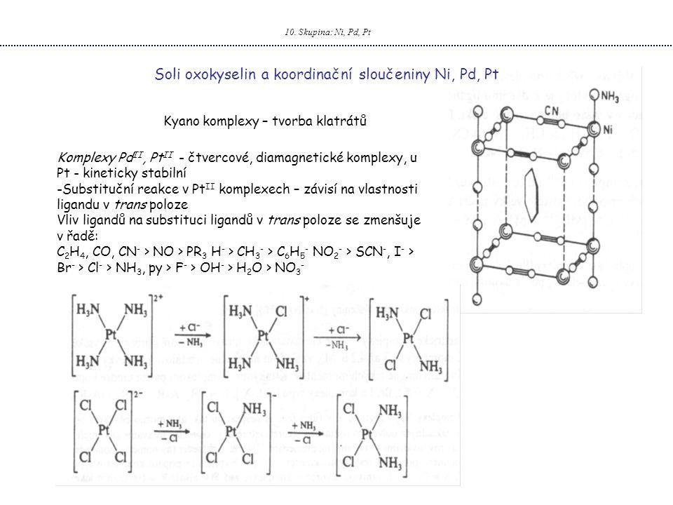 10. Skupina: Ni, Pd, Pt Soli oxokyselin a koordinační sloučeniny Ni, Pd, Pt Kyano komplexy – tvorba klatrátů Komplexy Pd II, Pt II - čtvercové, diamag