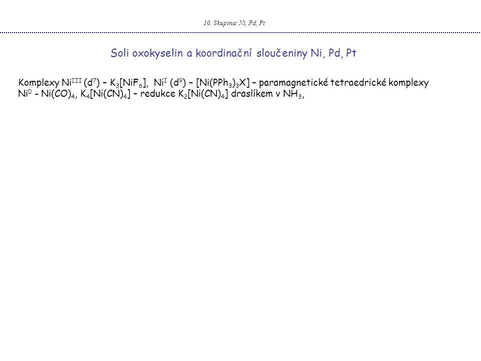 10. Skupina: Ni, Pd, Pt Soli oxokyselin a koordinační sloučeniny Ni, Pd, Pt Komplexy Ni III (d 7 ) – K 3 [NiF 6 ], Ni I (d 9 ) – [Ni(PPh 3 ) 3 X] – pa
