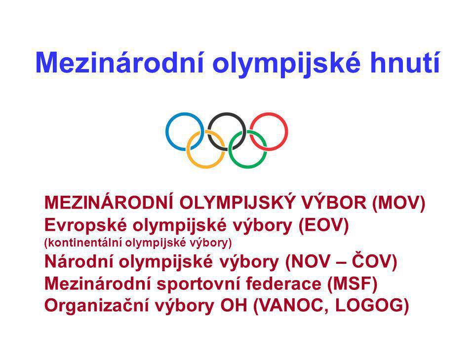 MEZINÁRODNÍ OLYMPIJSKÝ VÝBOR (MOV) Evropské olympijské výbory (EOV) (kontinentální olympijské výbory) Národní olympijské výbory (NOV – ČOV) Mezinárodn