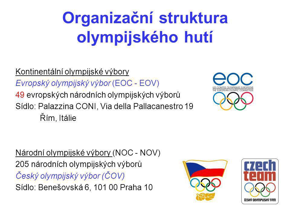Organizační struktura olympijského hutí Kontinentální olympijské výbory Evropský olympijský výbor (EOC - EOV) 49 evropských národních olympijských výb