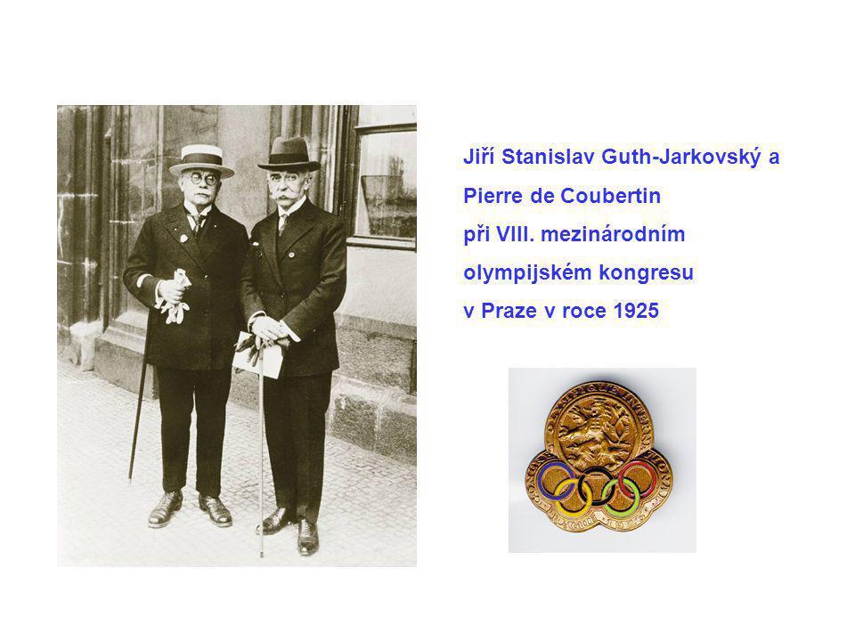 Jiří Stanislav Guth-Jarkovský a Pierre de Coubertin při VIII. mezinárodním olympijském kongresu v Praze v roce 1925