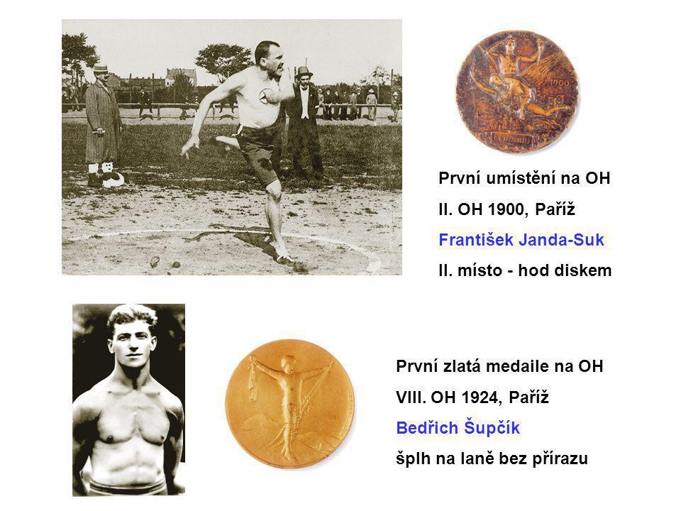 První umístění na OH II. OH 1900, Paříž František Janda-Suk II. místo - hod diskem První zlatá medaile na OH VIII. OH 1924, Paříž Bedřich Šupčík šplh