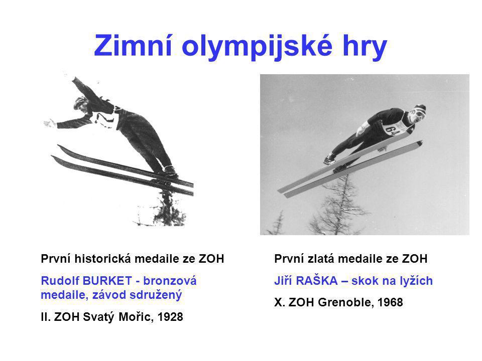 Zimní olympijské hry První historická medaile ze ZOH Rudolf BURKET - bronzová medaile, závod sdružený II. ZOH Svatý Mořic, 1928 První zlatá medaile ze