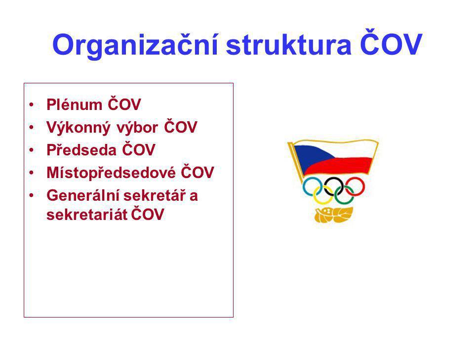 Organizační struktura ČOV Plénum ČOV Výkonný výbor ČOV Předseda ČOV Místopředsedové ČOV Generální sekretář a sekretariát ČOV
