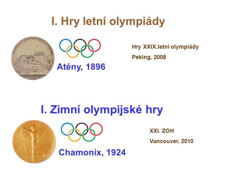 Atény, 1896 I. Hry letní olympiády I. Zimní olympijské hry Chamonix, 1924 XXI. ZOH Vancouver, 2010 Hry XXIX.letní olympiády Peking, 2008