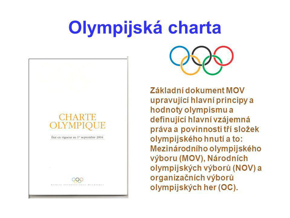 Olympijská charta Základní dokument MOV upravující hlavní principy a hodnoty olympismu a definující hlavní vzájemná práva a povinnosti tří složek olym