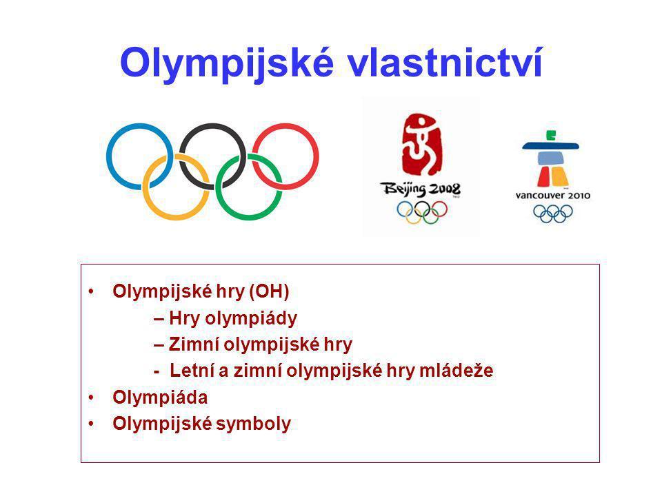 """Olympijská symbolika Olympijský symbol Olympijská vlajka Olympijské heslo """"Citius, Altius, Fortius Olympijský oheň – olympijská pochodeň, olympijská štafeta Olympijská hymna (1958) Olympijský emblém (spojení olympijských kruhů s dalšími prvky), znaky NOV, loga OH, plakáty OH, medaile, odznaky OH, maskoti OH atd."""