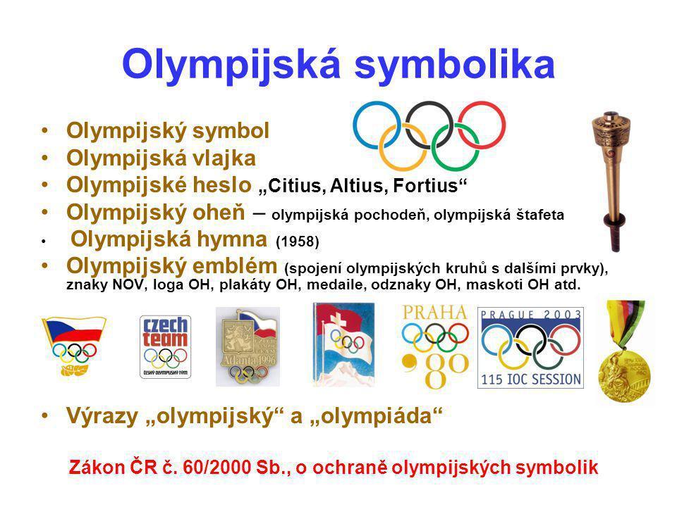 """Olympijská symbolika Olympijský symbol Olympijská vlajka Olympijské heslo """"Citius, Altius, Fortius"""" Olympijský oheň – olympijská pochodeň, olympijská"""