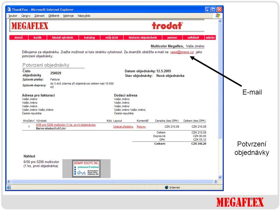 E-mail Potvrzení objednávky