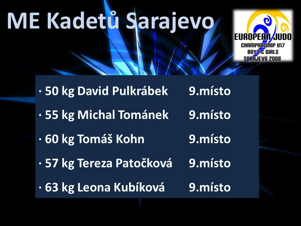 ME Kadetů Sarajevo · 50 kg David Pulkrábek 9.místo · 55 kg Michal Tománek 9.místo · 60 kg Tomáš Kohn 9.místo · 57 kg Tereza Patočková 9.místo · 63 kg Leona Kubíková 9.místo