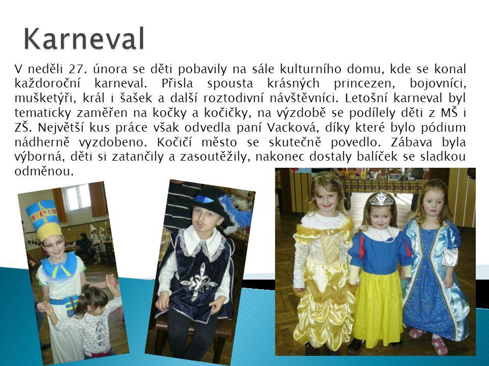 V neděli 27.února se děti pobavily na sále kulturního domu, kde se konal každoroční karneval.
