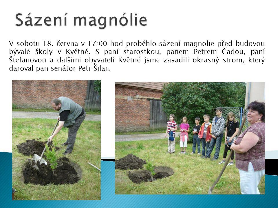 V sobotu 18.června v 17:00 hod proběhlo sázení magnolie před budovou bývalé školy v Květné.