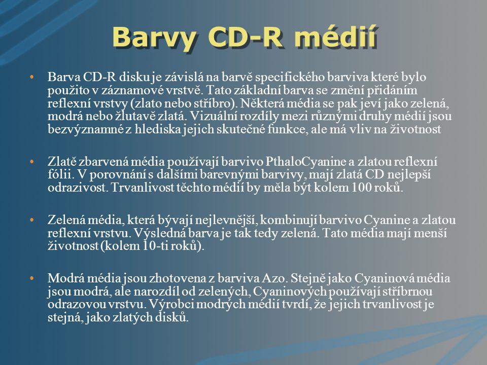 Barvy CD-R médií Barva CD-R disku je závislá na barvě specifického barviva které bylo použito v záznamové vrstvě. Tato základní barva se změní přidání