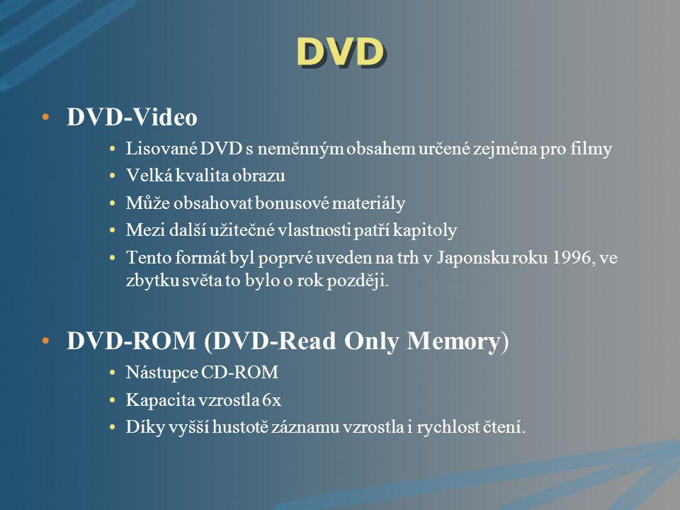 DVD DVD-Video Lisované DVD s neměnným obsahem určené zejména pro filmy Velká kvalita obrazu Může obsahovat bonusové materiály Mezi další užitečné vlas