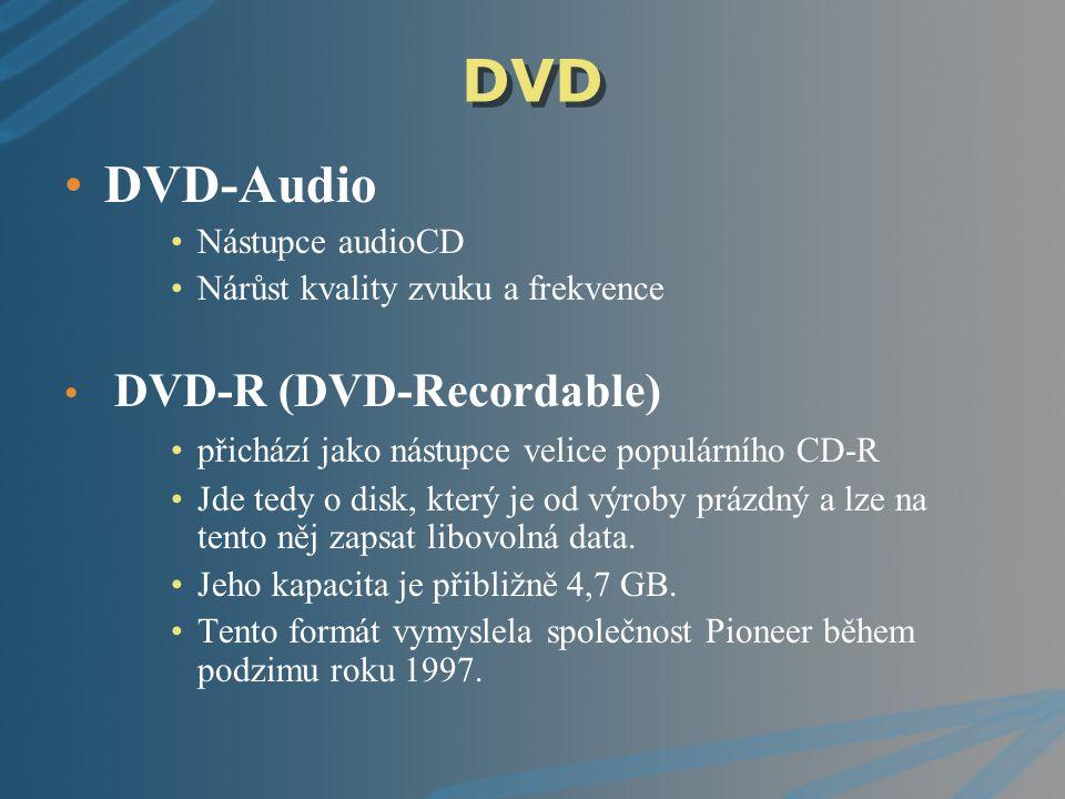 DVD DVD-Audio Nástupce audioCD Nárůst kvality zvuku a frekvence DVD-R (DVD-Recordable) přichází jako nástupce velice populárního CD-R Jde tedy o disk,