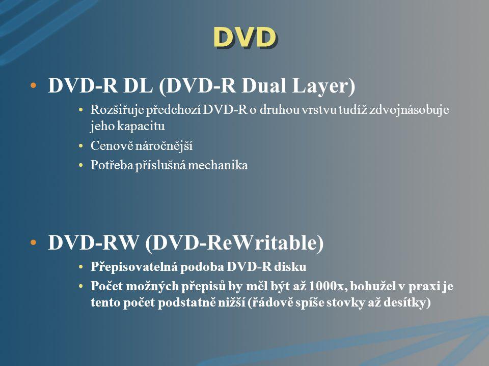DVD DVD-R DL (DVD-R Dual Layer) Rozšiřuje předchozí DVD-R o druhou vrstvu tudíž zdvojnásobuje jeho kapacitu Cenově náročnější Potřeba příslušná mechan