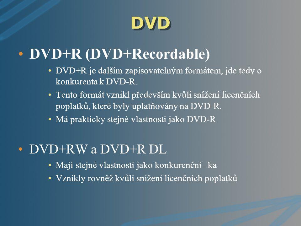 DVD DVD+R (DVD+Recordable) DVD+R je dalším zapisovatelným formátem, jde tedy o konkurenta k DVD-R. Tento formát vznikl především kvůli snížení licenčn