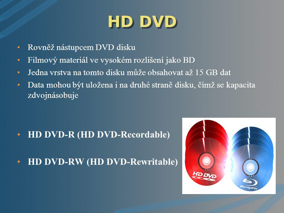 HD DVD Rovněž nástupcem DVD disku Filmový materiál ve vysokém rozlišení jako BD Jedna vrstva na tomto disku může obsahovat až 15 GB dat Data mohou být