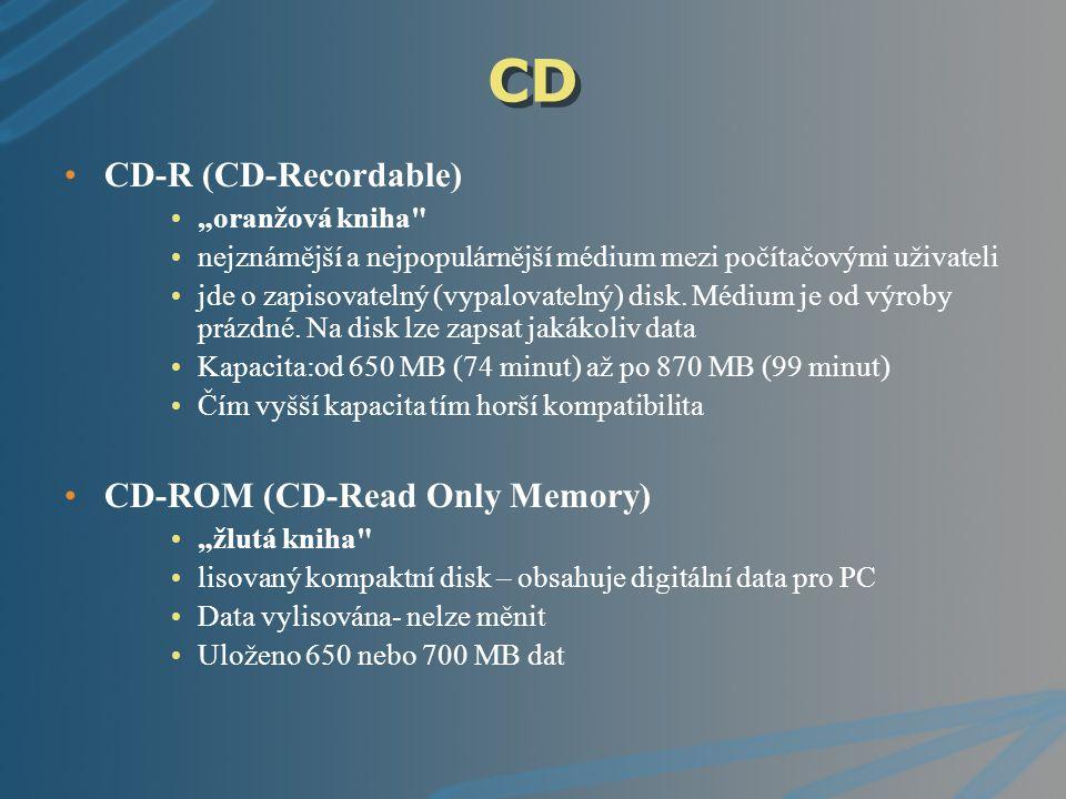 """CD CD-RW (CD-ReWritable) """"oranžová kniha"""" Rovněž populární mezi uživateli Tento disk také umožňuje zápis dat, ale navíc i jejich smazání."""