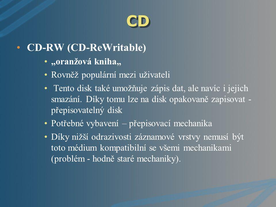 """CD CD-RW (CD-ReWritable) """"oranžová kniha"""" Rovněž populární mezi uživateli Tento disk také umožňuje zápis dat, ale navíc i jejich smazání. Díky tomu lz"""
