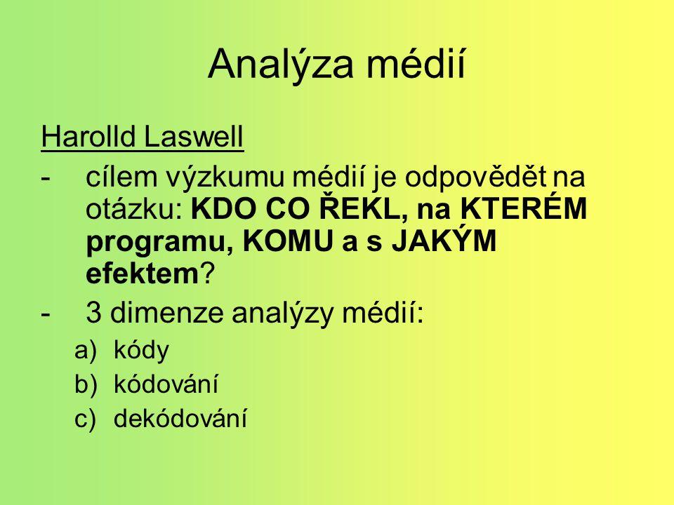 Analýza médií Harolld Laswell -cílem výzkumu médií je odpovědět na otázku: KDO CO ŘEKL, na KTERÉM programu, KOMU a s JAKÝM efektem.