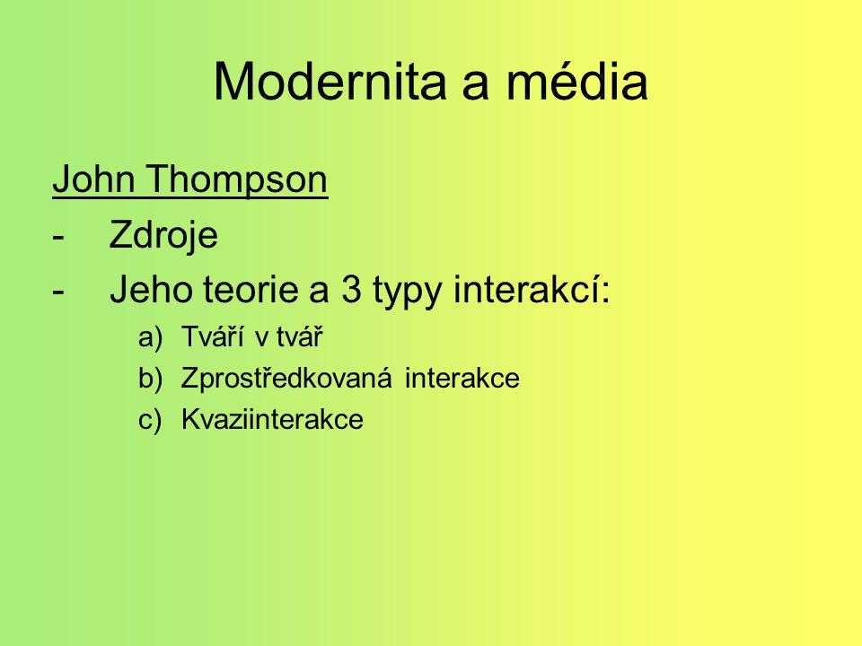 Modernita a média John Thompson -Zdroje -Jeho teorie a 3 typy interakcí: a)Tváří v tvář b)Zprostředkovaná interakce c)Kvaziinterakce
