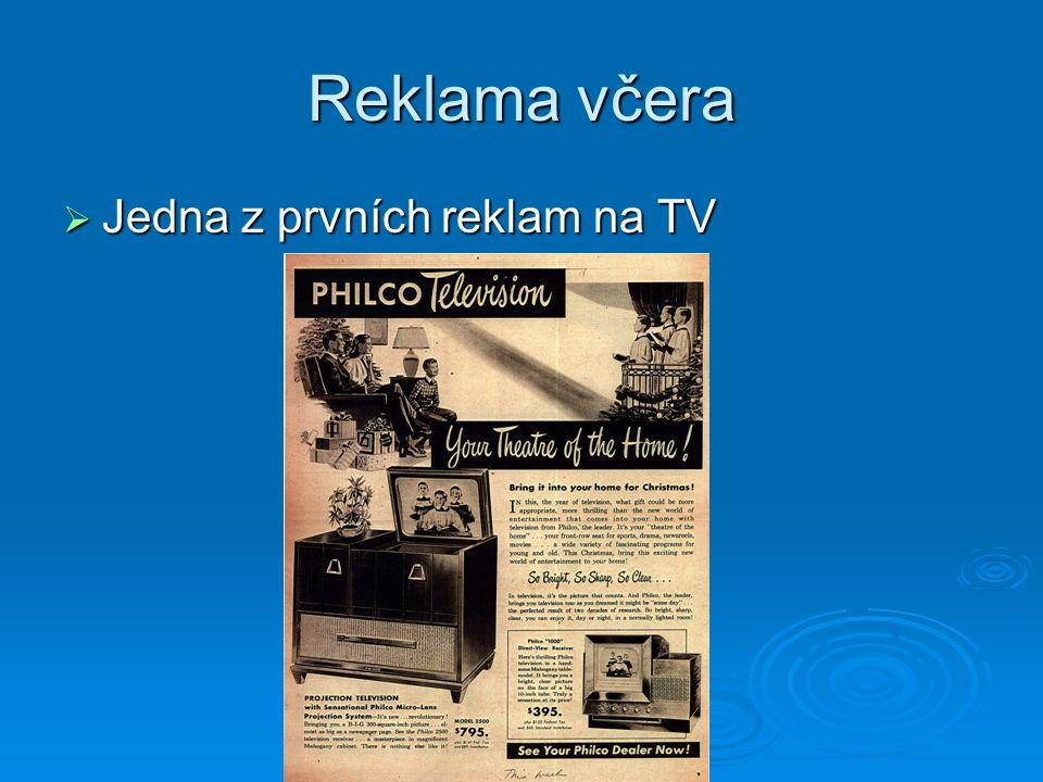 Reklama včera  Jedna z prvních reklam na TV