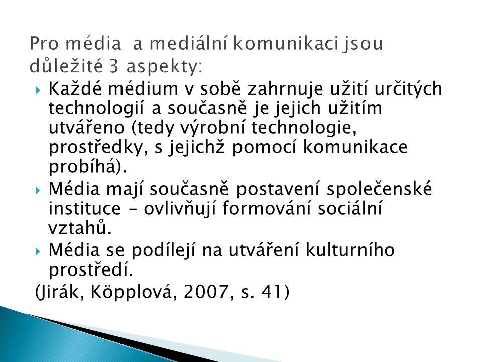  Každé médium v sobě zahrnuje užití určitých technologií a současně je jejich užitím utvářeno (tedy výrobní technologie, prostředky, s jejichž pomocí