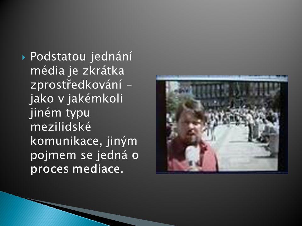  Podstatou jednání média je zkrátka zprostředkování – jako v jakémkoli jiném typu mezilidské komunikace, jiným pojmem se jedná o proces mediace.