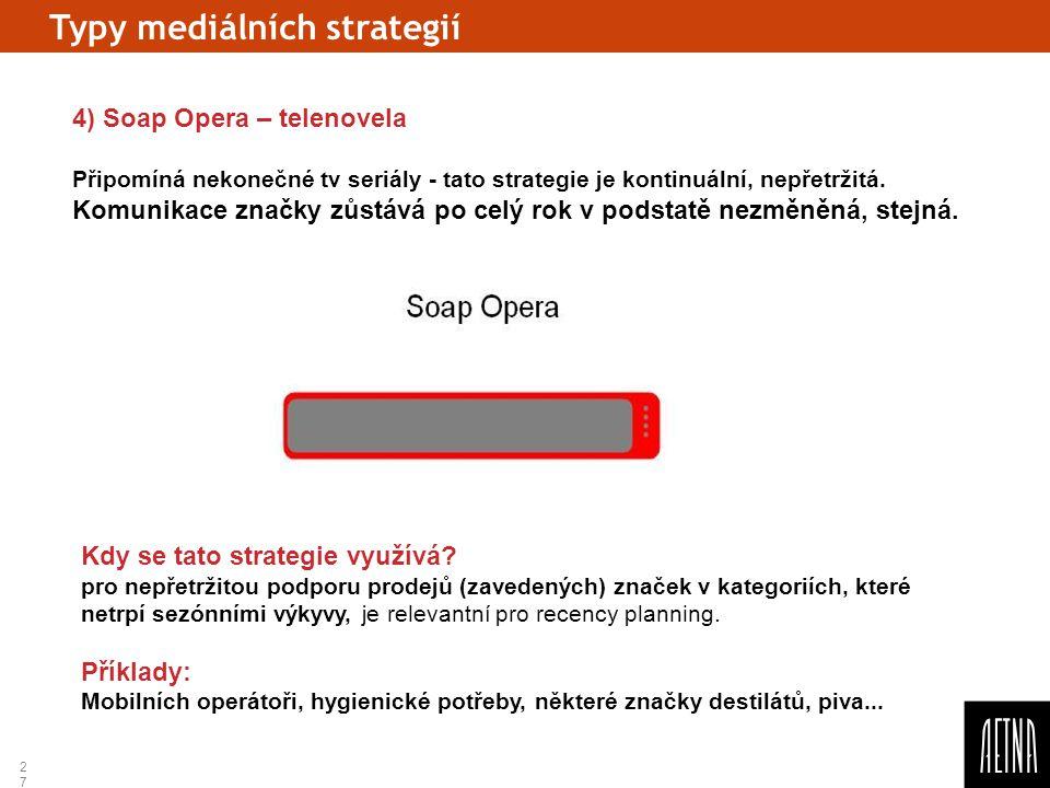 27 Typy mediálních strategií 4) Soap Opera – telenovela Připomíná nekonečné tv seriály - tato strategie je kontinuální, nepřetržitá. Komunikace značky