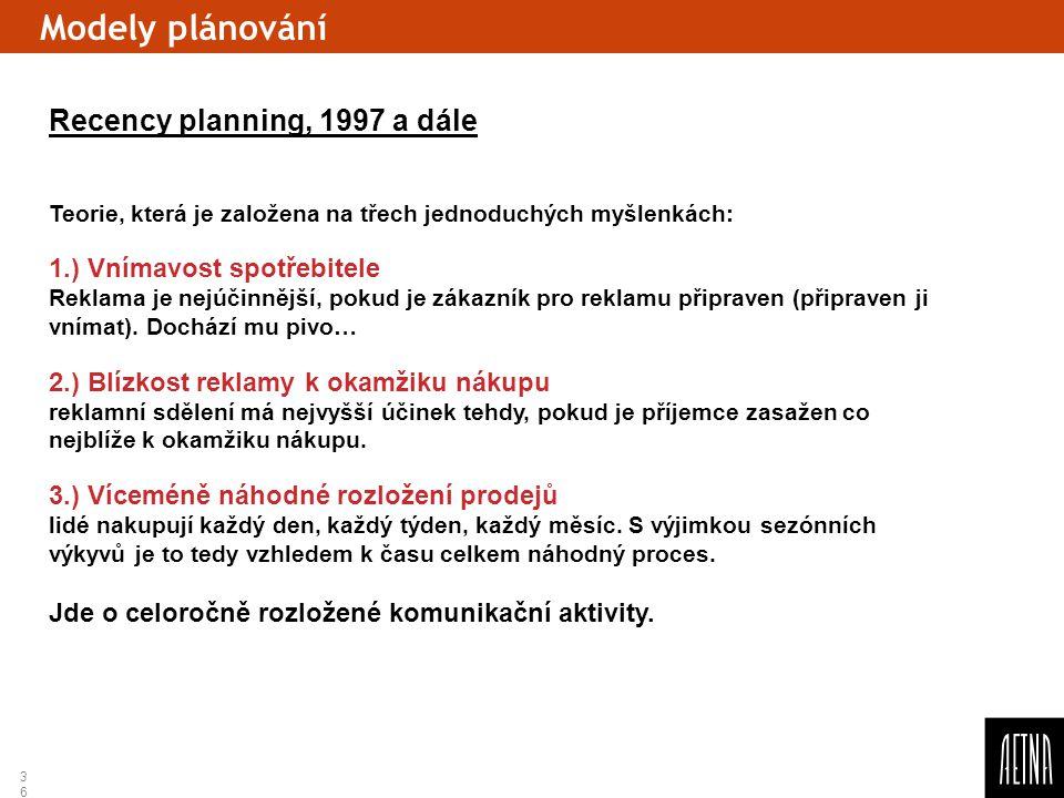 36 Modely plánování Recency planning, 1997 a dále Teorie, která je založena na třech jednoduchých myšlenkách: 1.) Vnímavost spotřebitele Reklama je ne