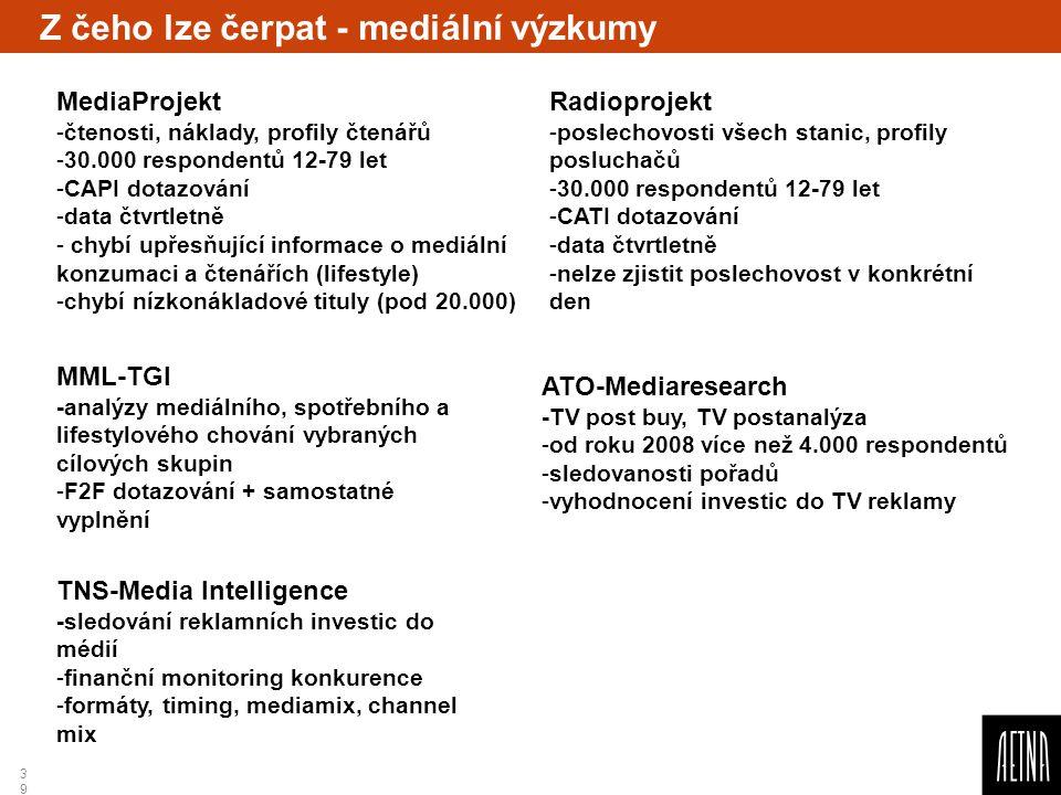 39 Z čeho lze čerpat - mediální výzkumy MML-TGI -analýzy mediálního, spotřebního a lifestylového chování vybraných cílových skupin -F2F dotazování + s
