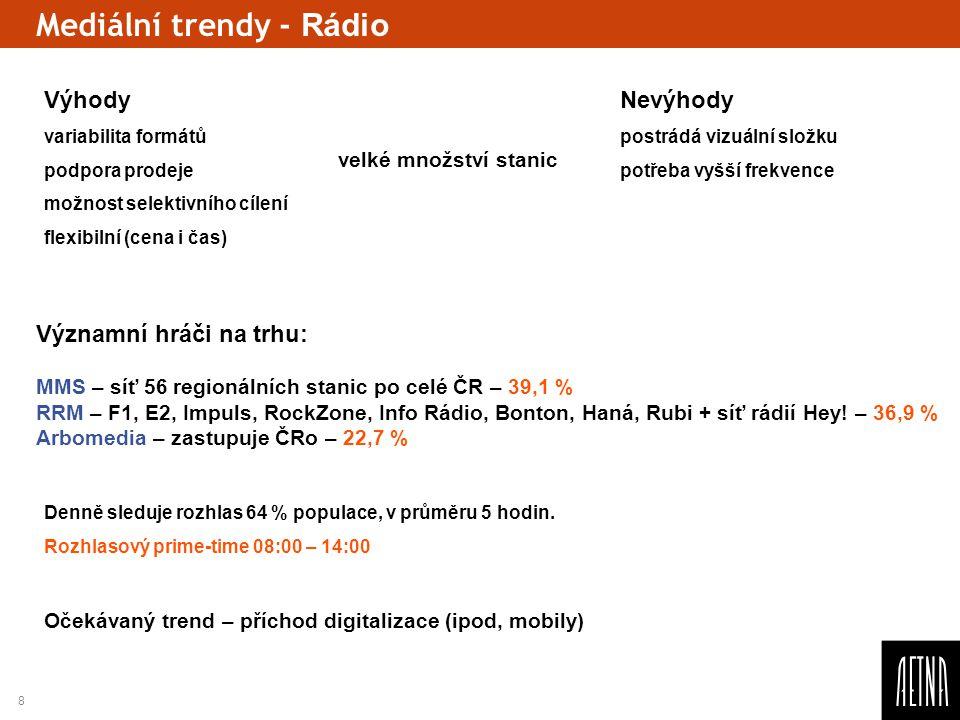 8 Mediální trendy - Rádio Očekávaný trend – příchod digitalizace (ipod, mobily) Výhody Nevýhody variabilita formátůpostrádá vizuální složku podpora pr