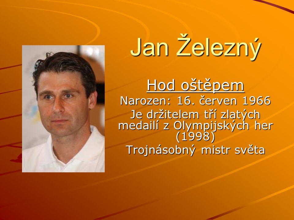Jan Železný Hod oštěpem Narozen: 16.