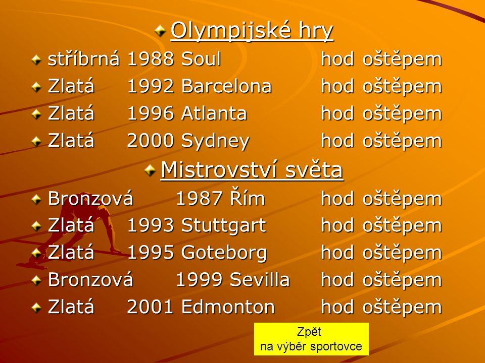 Olympijské hry stříbrná1988 Soulhod oštěpem Zlatá1992 Barcelonahod oštěpem Zlatá1996 Atlantahod oštěpem Zlatá2000 Sydneyhod oštěpem Mistrovství světa Bronzová1987 Římhod oštěpem Zlatá1993 Stuttgarthod oštěpem Zlatá1995 Goteborghod oštěpem Bronzová1999 Sevillahod oštěpem Zlatá2001 Edmontonhod oštěpem Zpět na výběr sportovce
