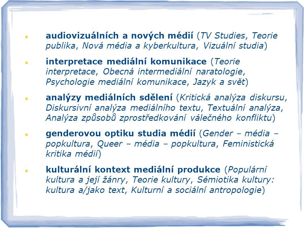 audiovizuálních a nových médií (TV Studies, Teorie publika, Nová média a kyberkultura, Vizuální studia) interpretace mediální komunikace (Teorie inter