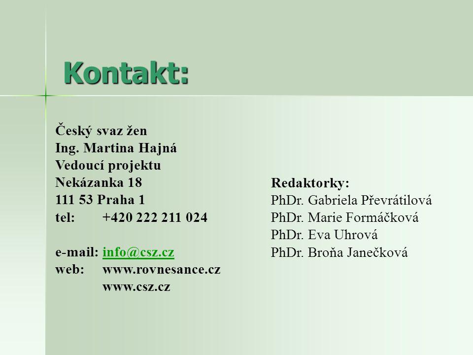 Kontakt: Český svaz žen Ing. Martina Hajná Vedoucí projektu Nekázanka 18 111 53 Praha 1 tel: +420 222 211 024 e-mail: info@csz.czinfo@csz.cz web: www.