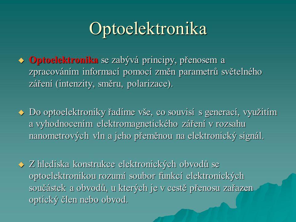 Optoelektronika  Optoelektronika se zabývá principy, přenosem a zpracováním informací pomocí změn parametrů světelného záření (intenzity, směru, polarizace).