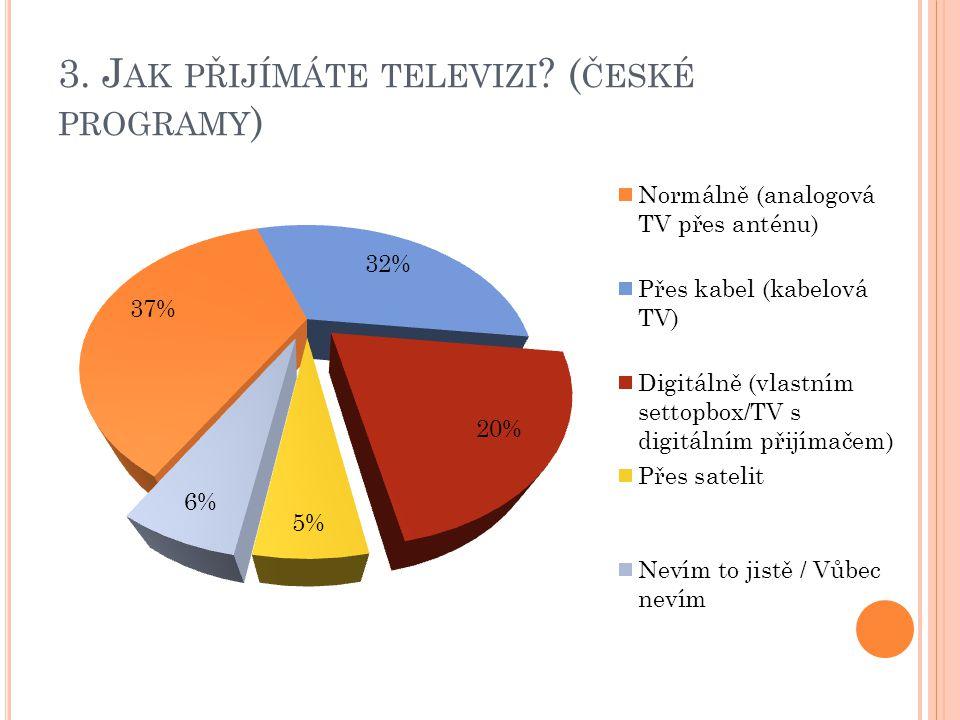3. J AK PŘIJÍMÁTE TELEVIZI ( ČESKÉ PROGRAMY )