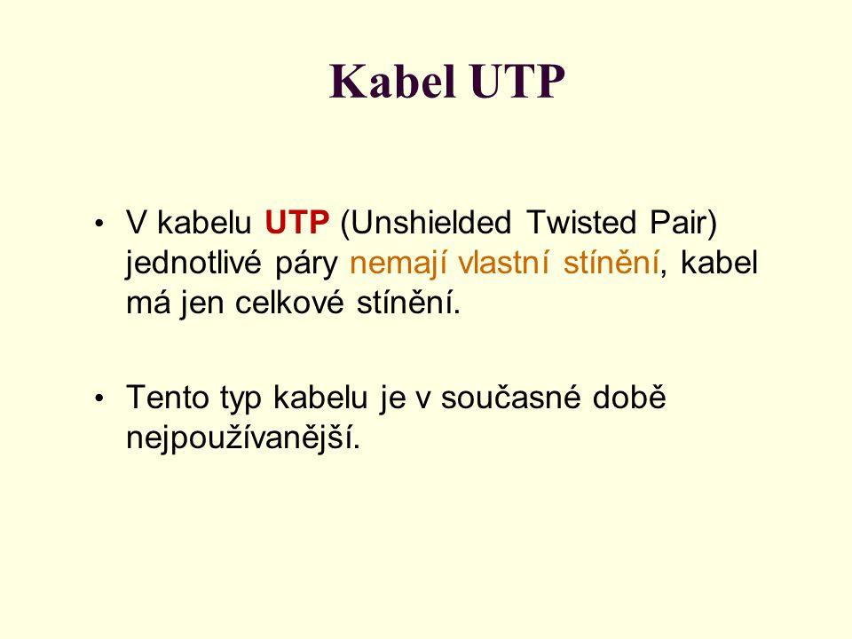 Kabel UTP V kabelu UTP (Unshielded Twisted Pair) jednotlivé páry nemají vlastní stínění, kabel má jen celkové stínění. Tento typ kabelu je v současné