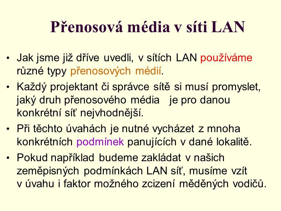 Přenosová média v síti LAN Jak jsme již dříve uvedli, v sítích LAN používáme různé typy přenosových médií. Každý projektant či správce sítě si musí pr