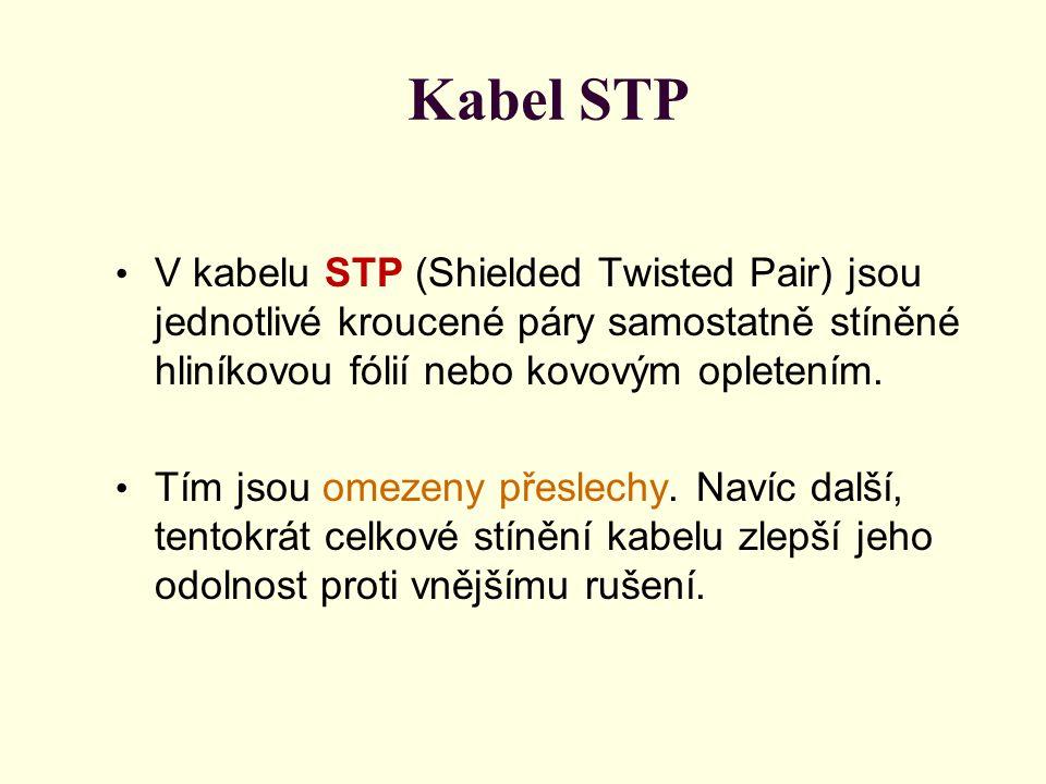 Kabel STP V kabelu STP (Shielded Twisted Pair) jsou jednotlivé kroucené páry samostatně stíněné hliníkovou fólií nebo kovovým opletením. Tím jsou omez