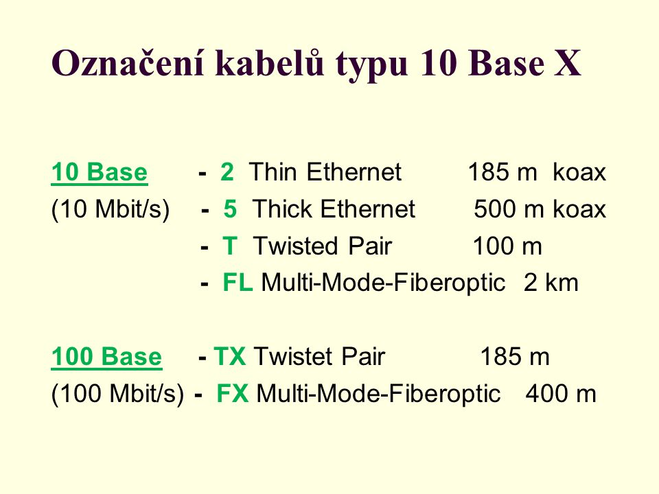 Označení kabelů typu 10 Base X 10 Base - 2 Thin Ethernet 185 m koax (10 Mbit/s) - 5 Thick Ethernet 500 m koax - T Twisted Pair 100 m - FL Multi-Mode-F