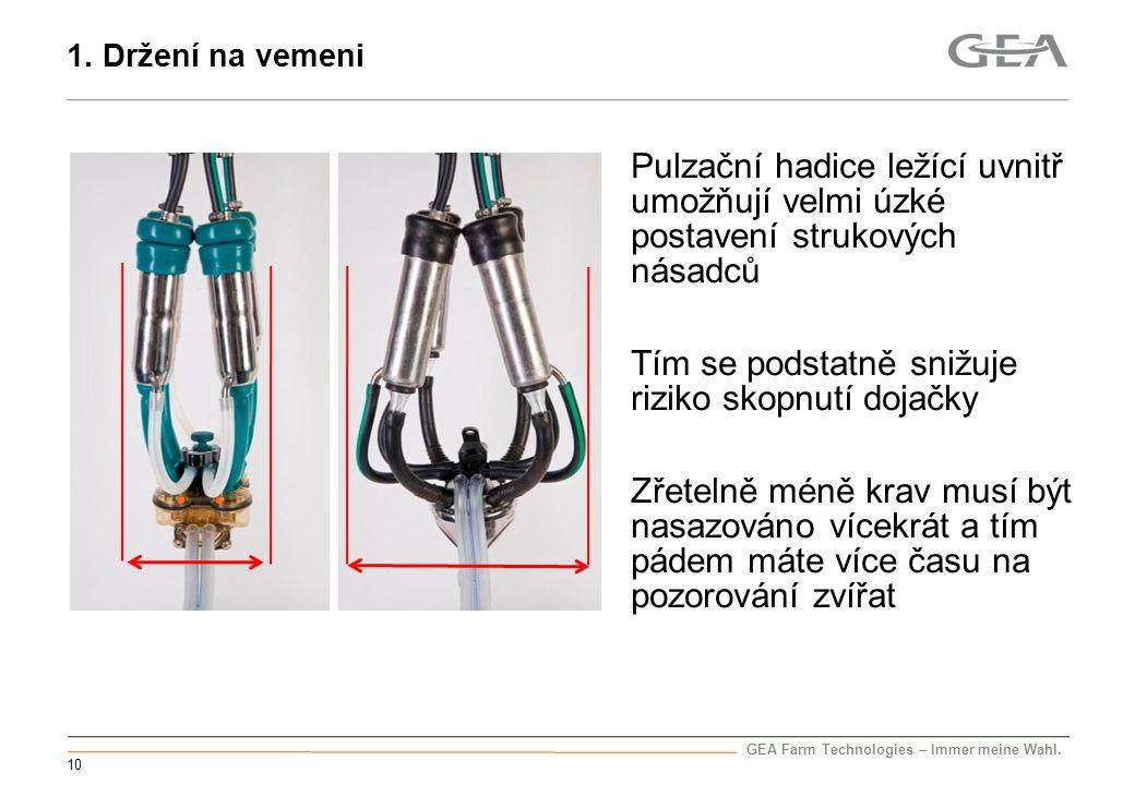 GEA Farm Technologies – Immer meine Wahl. 10 Pulzační hadice ležící uvnitř umožňují velmi úzké postavení strukových násadců Tím se podstatně snižuje r